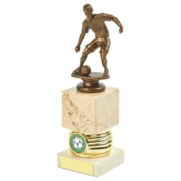 Man of the Match Trophy 22cms. antique gold coloured hard plastic composite football figure, marble block riser and a choice of activity centres. Connected to a cream coloured marble base