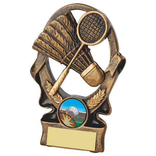 Budget Badminton Trophy 9cms. A great low priced trophies ideal for any badminton event.