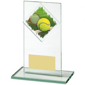 Budget Glass Tennis Trophy 14cms