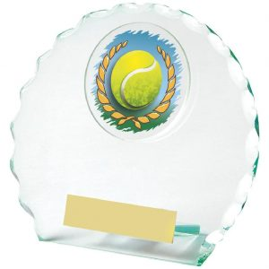 Scalloped Edge Glass Tennis Trophy 12cms