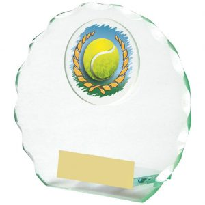 Scalloped Edge Glass Tennis Trophy 11cms