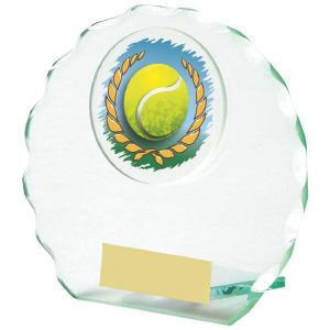 Scalloped Edge Glass Tennis Trophy 10cms