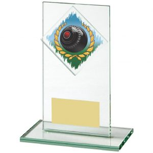 Lawn Bowls Glass Trophy 14cms