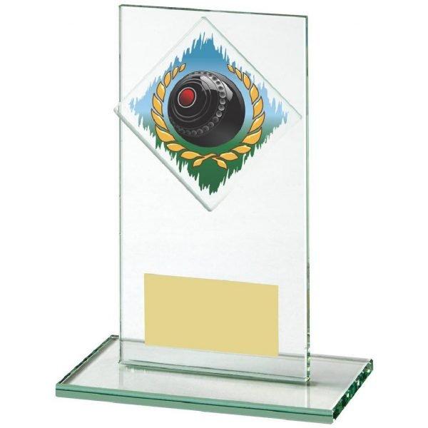 Lawn Bowls Glass Trophy 14cms