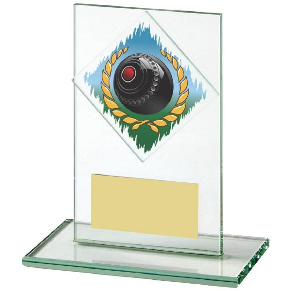Lawn Bowls Glass Trophy 12cms