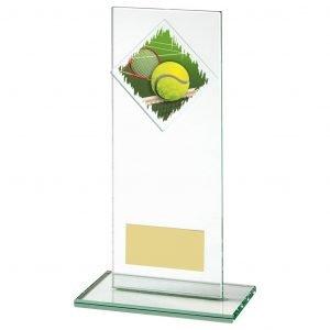 Glass Tennis Trophy 18cms