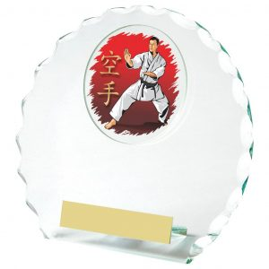 Multi Sports Scalloped Edge Glass Trophy