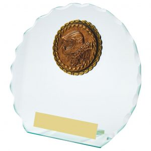Scalloped Edge Glass Sports Trophy