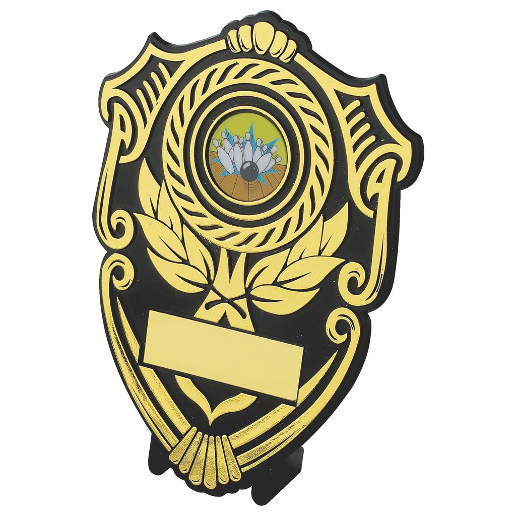 Black and gold plastic composite tradition shaped shield with activity centre