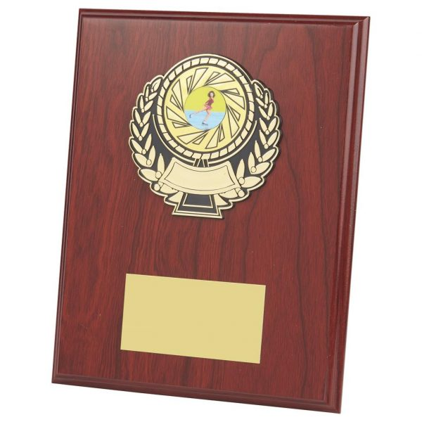 rosewood coloured rectangular plaque trophy with black and gold coloured activity centre holder attached