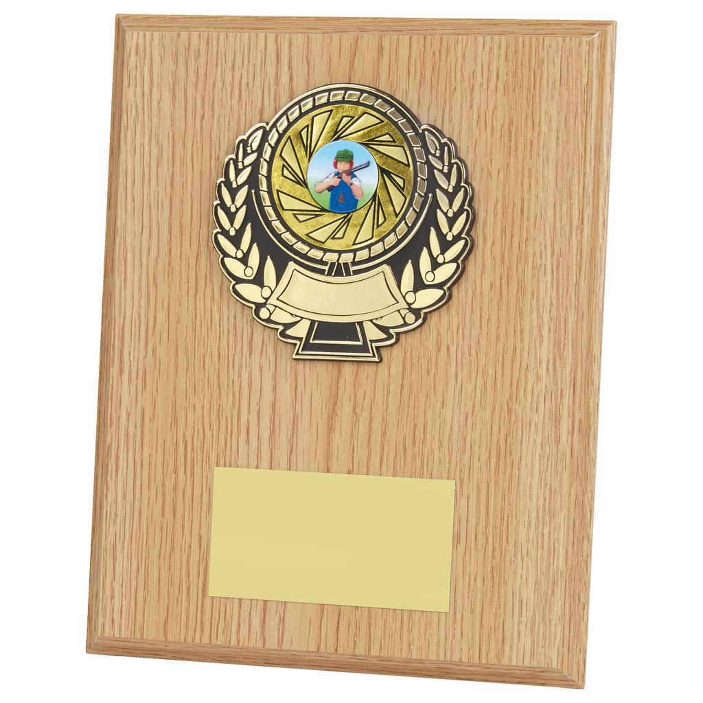 lightwood coloured rectangular plaque trophy with black and gold coloured activity centre holder attached