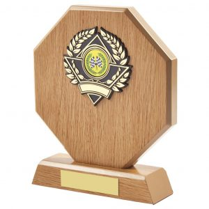 motorsports wood style trophy is hexagon shaped and includes a choice of standard coloured motorsports centres. Fitted with a gold and black coloured activity centre holder and a felt beize on the bottom