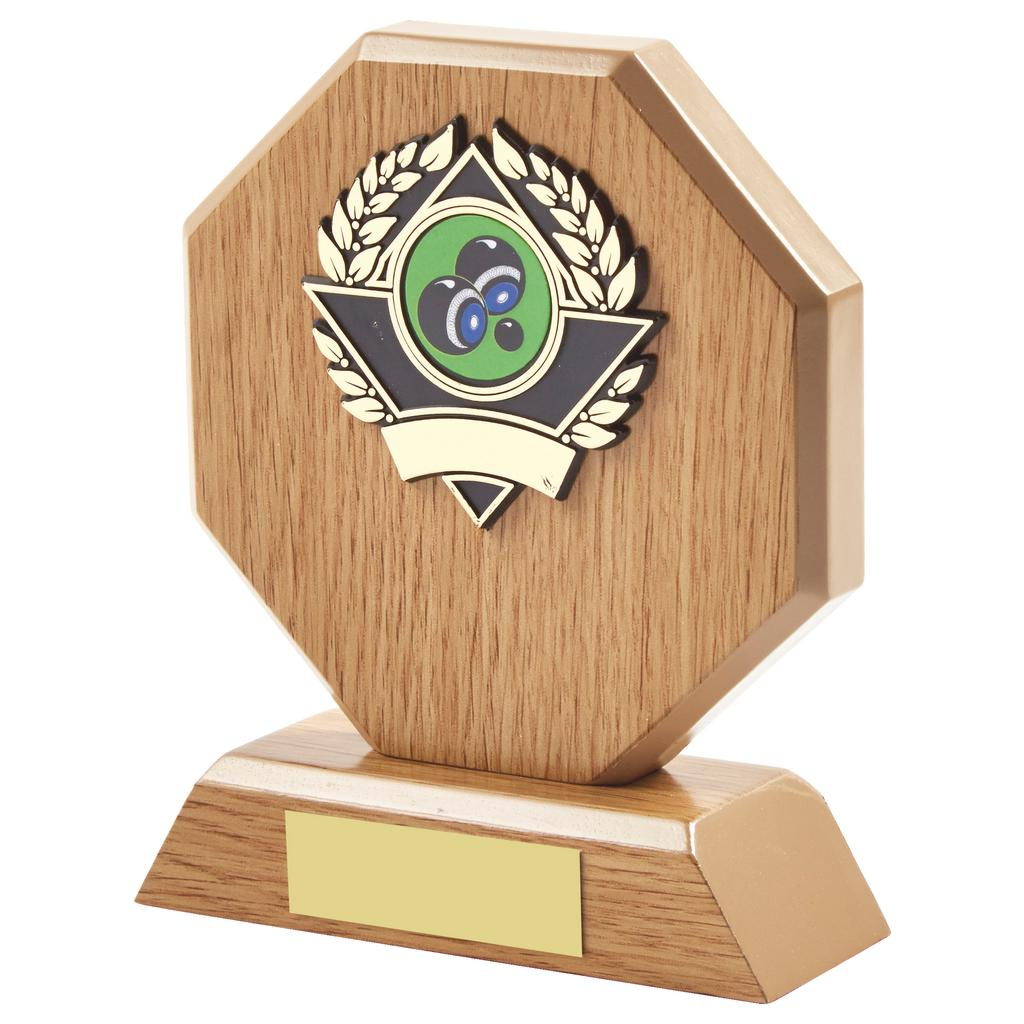 the lightwood bowls trophy is a hexagon shaped MDF based material. Includes a choice of standard coloured bowls centres. Fitted with a gold and black coloured activity centre holder and a felt beize on the bottom