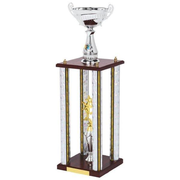 female field hockey blue column trophy wood base