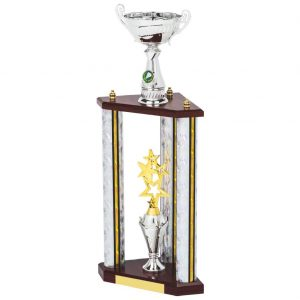 a real showstopper. Extra large trphu with silver coloured columns sports trophy