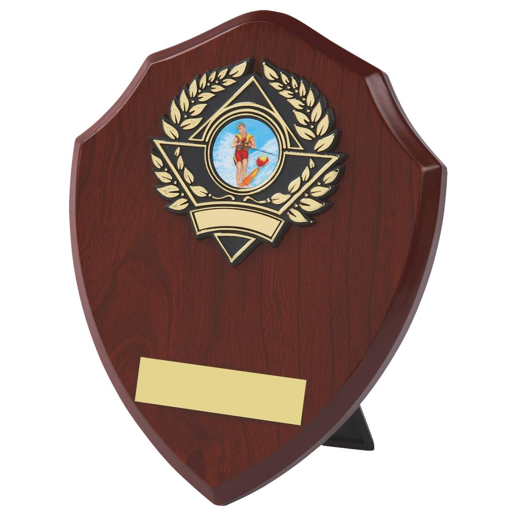 darkwood coloured traditional shaped water skiing themed shield