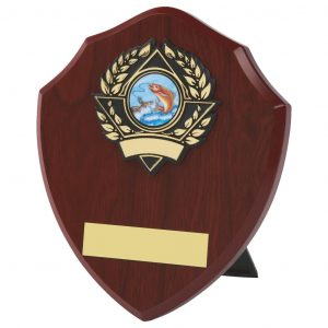 darkwood coloured traditional shaped fishing themed shield