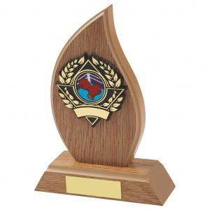 flame shaped light wood boxing trophy