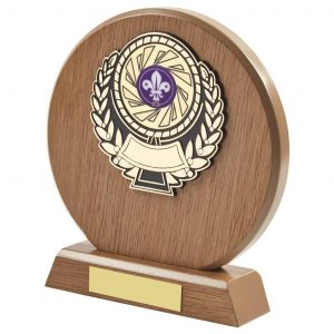 light wood coloured round shaped scouts, cubs and beavers trophy