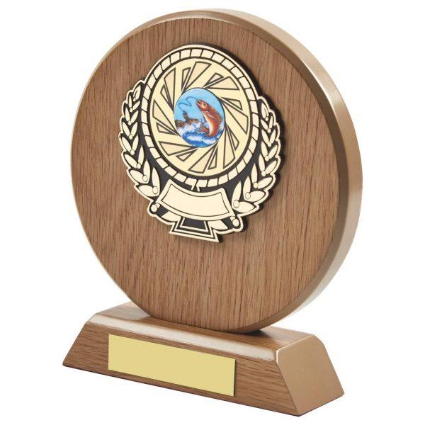 light wood coloured round shaped fishing trophy