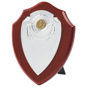 Traditional Modern Shield made from a MDF based material with a rosewood coloured veneer. Includes a bright chrome front and a choice of standard coloured centres.