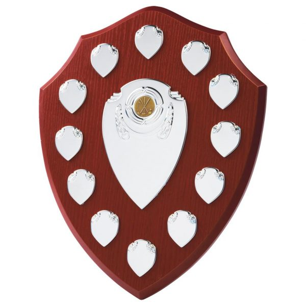 Annual Perpetual Shield 36cms tall made from a MDF based material with a hard wearing rosewood colour finish and a sturdy strut on the rear. Incorporating seven small record shields, and chrome coloured centre embellishments.