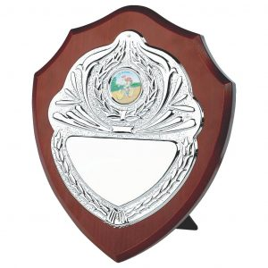 Traditional Replica Shield made from a MDF based material with a rosewood coloured veneer. Includes a bright chrome front and a choice of standard coloured centres.