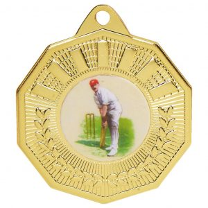 Bargain Cricket Medal 50mm diameter. This popular cricket medal is available in gold, silver and bronze colours.