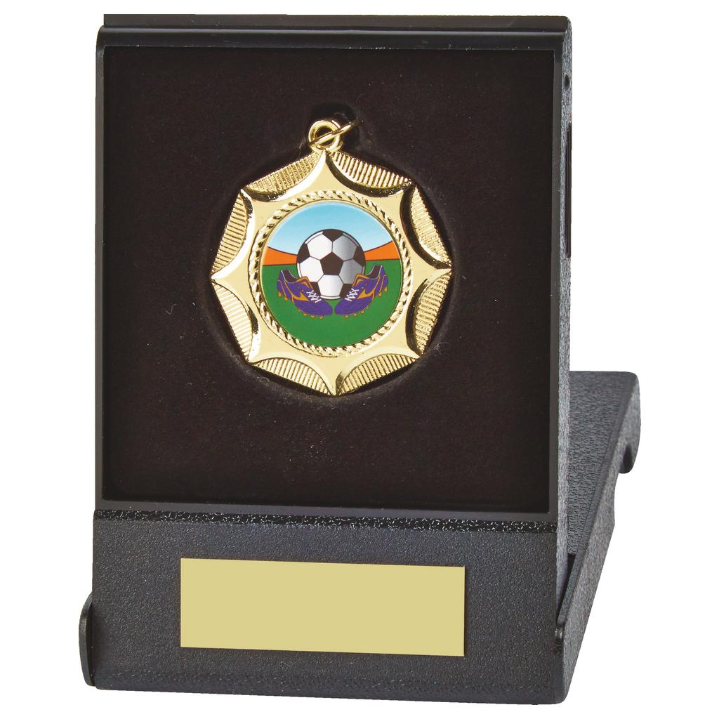 Flip Box with Standard Medal. Made from a 45mm diameter coloured metal alloy. With a black plastic composite flip box and insert for the medal to fit snug into.