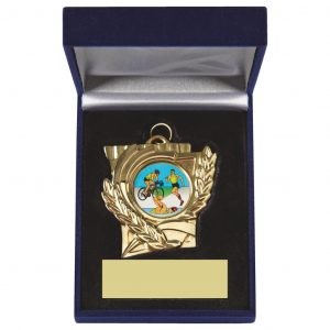 Heavy Sports Medal and Case Trophy. Made from a coloured metal alloy. With a luxury case and insert for the medal to fit snug into. Choice of three different colours of medals with matching engraving plates