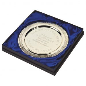 Silver Plated Presentation Salver 25cms. Constructed from a metal alloy with a bright shiny silver finish and sits in a stylish blue line presentation case. Incorporating large area to include all your engraving including your club or corporate logo, if required, for a small charge