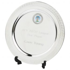 Multi-Sports Value Salver 20cms. Constructed from a metal alloy with a bright shiny silver finish and a black plastic plate stand. Incorporating large area to include all your engraving