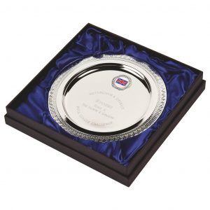 Multi-Sports Presentation Salver 20cms. Constructed from a metal alloy with a bright shiny silver finish and sits in a blue line presentation case. Incorporating large area to include all your engraving for a small charge. Including a quality lidded lined presentation case.