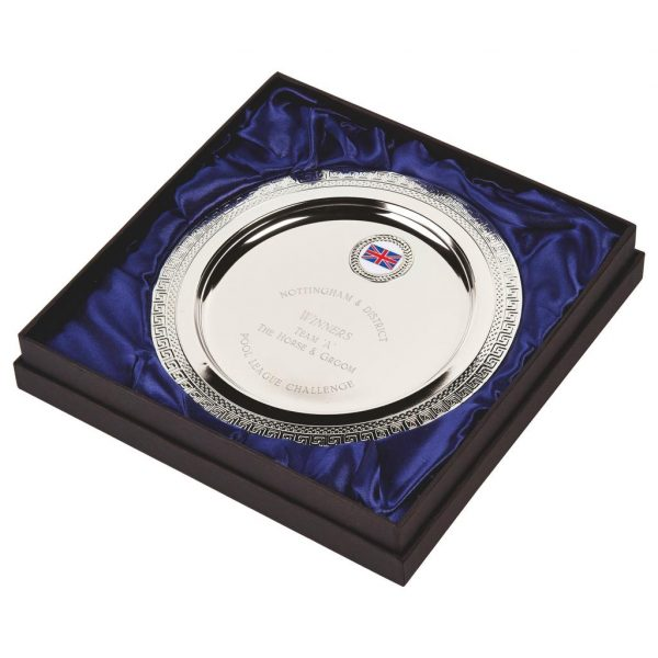 Multi-Sports Presentation Salver 20cms. Constructed from a metal alloy with a bright shiny silver finish and sits in a blue line presentation case. Incorporating large area to include all your engraving for a small charge.Including a quality lidded lined presentation case.