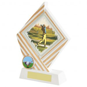 Captain Day Golf Trophy. White resin stand trophies with glass diamond shape golfer printed image