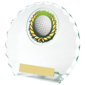 Golf Glass Budget Trophy 14cms. Constructed from 5mm thick jade coloured scalloped edge circle glass. Incorporating a golf ball in wreath glass disc image