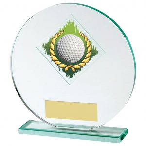 Glass Golf Trophy 19cms. Constructed from a circular shaped jade coloured plain edge glass. Incorporating a golf ball in wreath glass disc image.