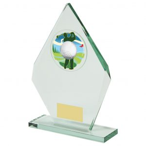 Glass Golfer Trophy 22.5cms. Constructed from a angular shaped jade coloured plain edge glass. Incorporating a golf ball glass disc image.