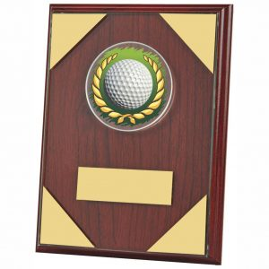 Rosewood Coloured Golf Plaque 20cms