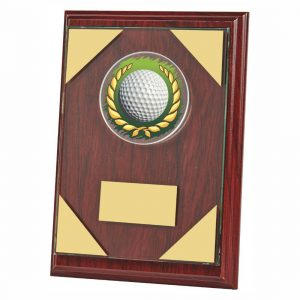 Rosewood Coloured Golf Plaque 18cms