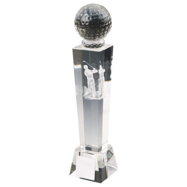 3D Golfer Trophy 18cms. Clean glass trophy column with a glass golf ball on top. Incorporating a 3D laser male golfer inside the column. Supplied in luxury lined presentation case