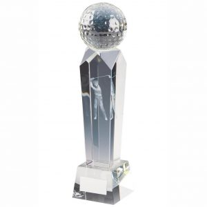 Golf Column Trophy 24cms.. Clean glass trophy column with a glass golf ball on top. Incorporating a 3D laser male golfer inside the column. Supplied in luxury lined presentation case.