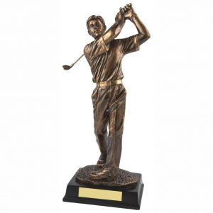 Male Golf Trophy 30cms. Constructed from a fine detail bronze coloured resin with integral resin base.
