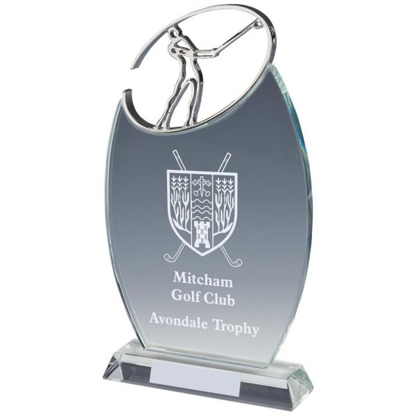 Golfing Glass Trophy 26cms. Clean cut oval shaped glass. Incorporating a bright shiny golfer whoosh!. Lots of room in the glass to glass etch. Supplied in luxury lined presentation case.