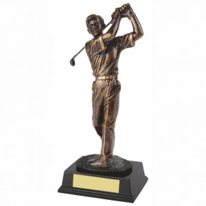 Male Golf Trophy 25cms. Constructed from a fine detail bronze coloured resin with integral resin base.