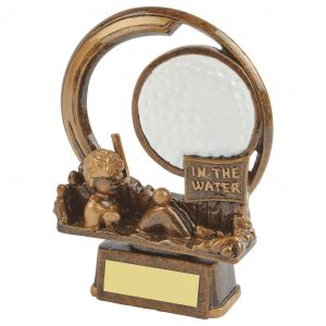 In The Water Golf Trophy 15cm. Constructed from fine detailed resin with an antique gold coloured finish. Depicting a golfer in the water hazard.
