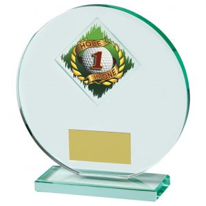 Hole in One Glass Trophy. jade glass circular shaped trophy with a diamond shape printed 1st golf ball in a wreath image