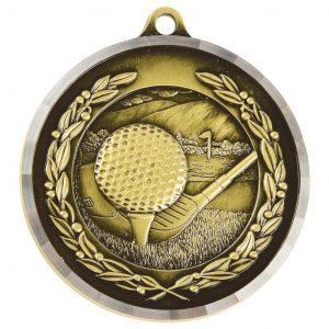 Golf Medal 50mm Diameter. Constructed from a metal alloy with a special finish and a diamond effect edging. Also engraving available for a small engraving charge.