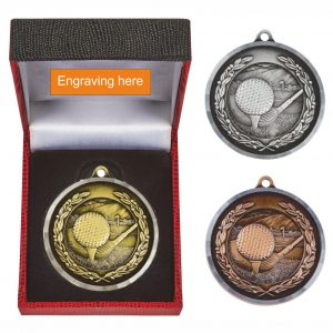 Golf Medal in Luxury Presentation Box