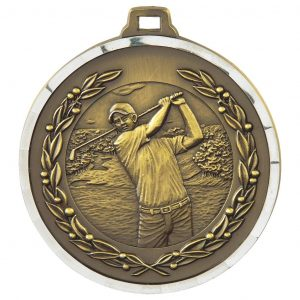 Male Golf Medal 50mm Diameter. Constructed from a quality metal alloy with a special finish. Incorporating a stylish diamond effect edging